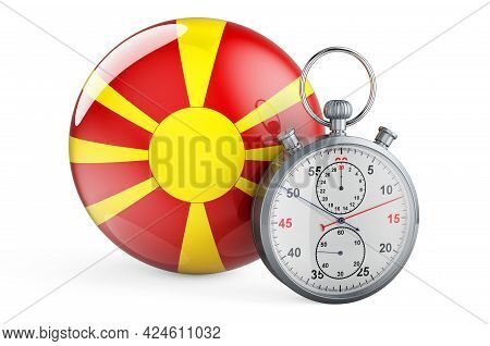 Stopwatch With Flag Of Macedonia, 3d Rendering Isolated On White Background
