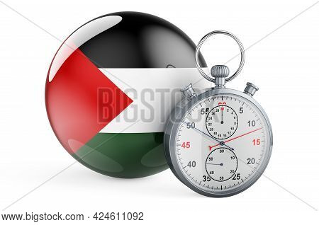 Stopwatch With Flag Of Palestine, 3d Rendering Isolated On White Background