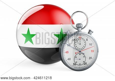 Stopwatch With Flag Of Syria, 3d Rendering Isolated On White Background