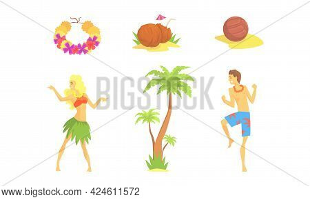 Hawaiian Party Objects Set, Symbols Of Tropical Summer Holidays, Daning People, Cocktail, Palm Tree