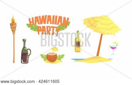 Hawaiian Party Objects Set, Symbols Of Tropical Summer Holidays, Alcoholic Drink, Cocktail, Torch, U