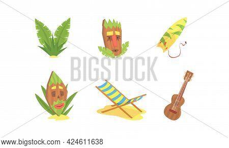 Traditional Symbols Of Hawaiian Culture Set, Surfboard, Tiki Tribal Mask, Ukulele, Beach Sunbed Cart