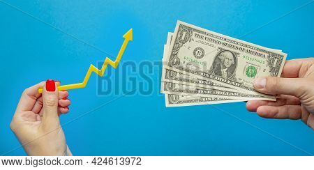 Inflation, Dollar Hyperinflation. Rising Prices. Banner With Blue Background. One Dollar Bill In The