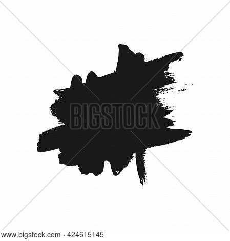 Paint Or Ink Blot And Splash On White Background. Round Hand Drawn Frame. Black And White Grunge Pos