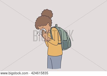 Feeling Sick And Runny Nose Concept. Small Black Girl Cartoon Character With Backpack Standing Using