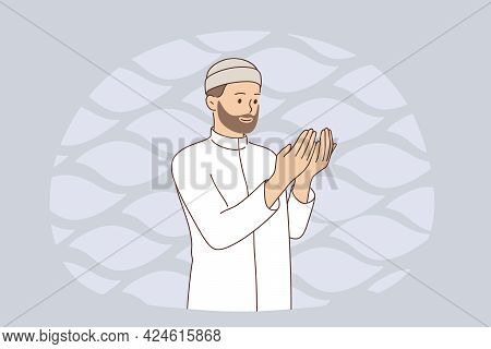 Muslim Religion And Rituals Concept. Young Smiling Arab Man Cartoon Character In White Clothes Stand