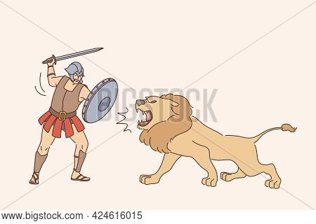 Gladiator With Lion Fight Concept. Young Man Gladiator Cartoon Character In Special Uniform Standing