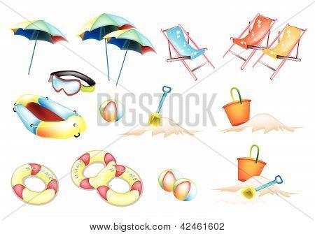An Illustration Of Beach Items For Summertime