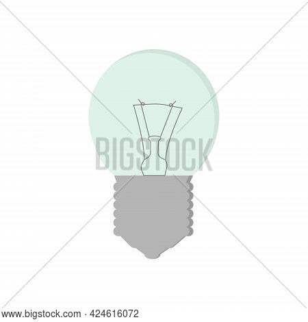 Light Bulb In Flat Style, Lighting Fixture Or Brainstorming Concept Vector Illustration