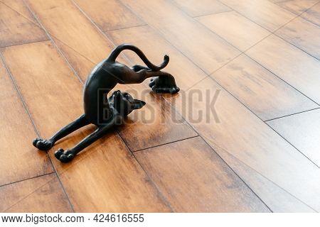 Ceramic Black Cat Figurine Bending Doing Yoga Pose