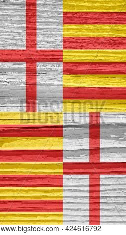 Flag Of The City Of Barcelona On Dry Wooden Surface, Cracked With Age. It Seems To Flutter In The Wi