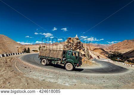 Indian army lorry truck car on national highway Srinagar-Leh NH-1 in Himalayas. Ladakh, India