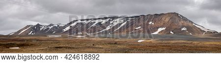 Panoramic view of volcanic mountains near Myvatn area in Iceland