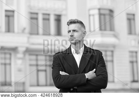 Man Classic Style Urban Background. Classic Is Always Appropriate. Business Concept. Business Life.