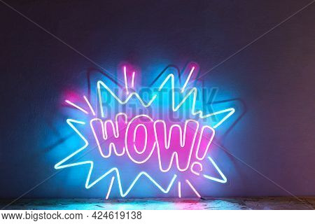 Pink And Blue Neon Sign Wow. Trendy Style. Wow. Neon Sign. Custom Neon. Home Decor.