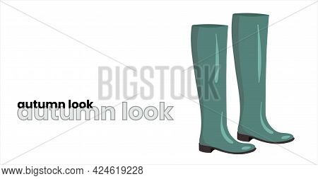 Rubber Boots In A Fashionable Mint Color, Isolated On A White Background. Green Rubber Boots. Fashio