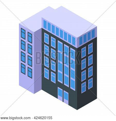 Office Building House Icon Isometric Vector. Building House. Office With Modern Furniture