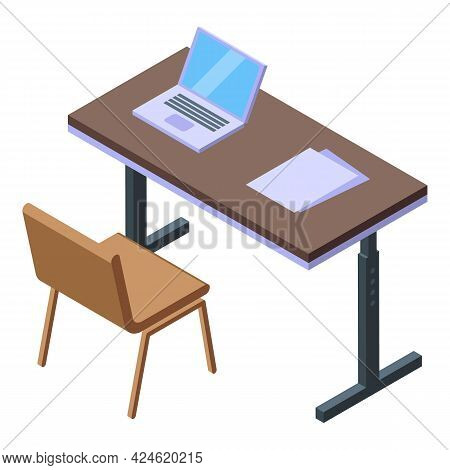 Computer Office Desk Icon Isometric Vector. Website Workspace. Laptop Work Technology