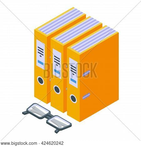 Folder Files Icon Isometric Vector. Office Document Paper. Folder Stack Archive