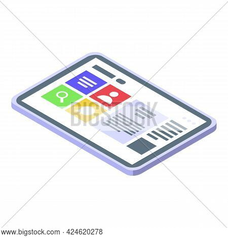 Social Tablet Icon Isometric Vector. Virtual Media Checklist. Web Network Tablet