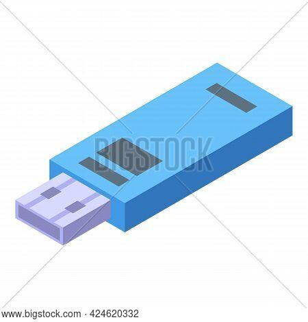 Usb Flash Icon Isometric Vector. Usb Flash Drive. Computer Plug Disk