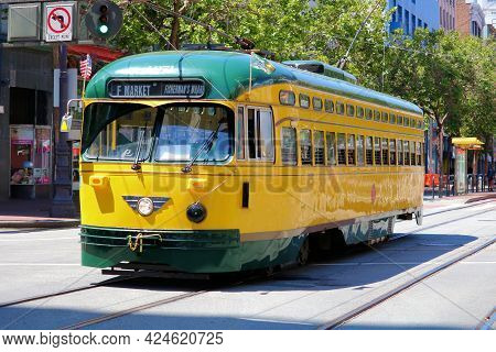 June 8, 2021 In San Francisco, Ca:  Historic Street Car Which Is Part Of The Public Transit System O