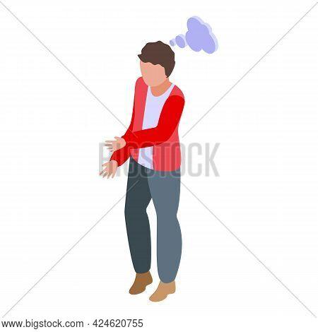 Student Thinking Icon Isometric Vector. Boy Think Idea. Smart Guy Adolescent