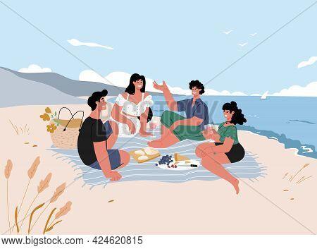 Friends Make A Sea Shore Picnic At Summer, Having Fun On The Sea, Relaxing, Talking, Having Fun.vect