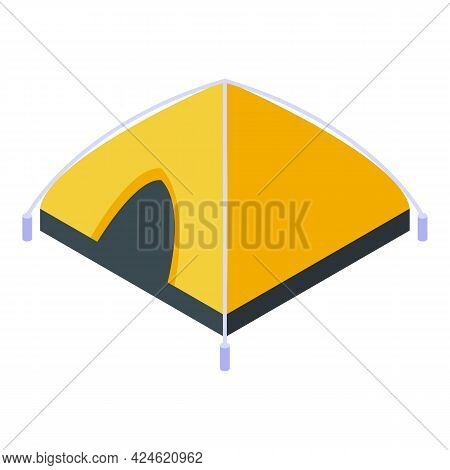 Camp Tent Icon Isometric Vector. Tourist Campsite House. Travel Forest Tent