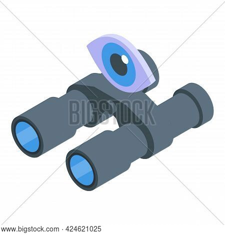 Scouting Binoculars Icon Isometric Vector. Scout Boy Tool. Camp Kid Binoculars