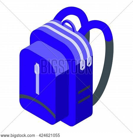 Camp Backpack Icon Isometric Vector. Travel Bag Or Bagpack. Camping Rucksack