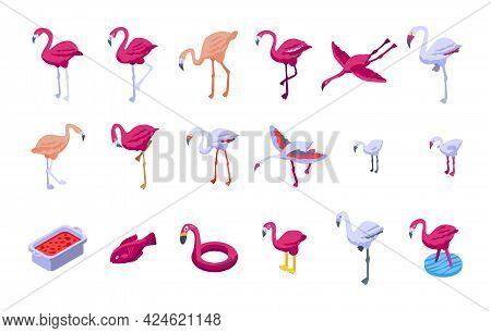Flamingo Icons Set. Isometric Set Of Flamingo Vector Icons For Web Design Isolated On White Backgrou