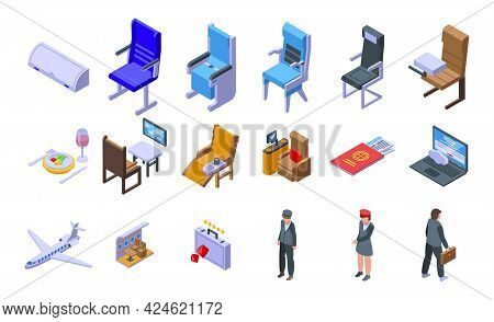 First Class Travel Icons Set. Isometric Set Of First Class Travel Vector Icons For Web Design Isolat