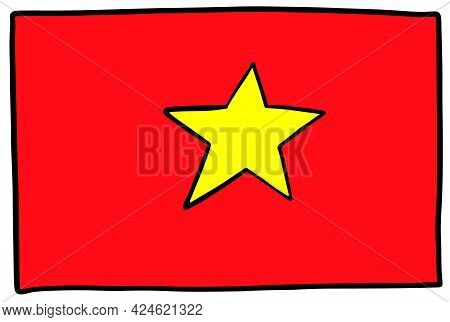 Vietnam Flag Doodvietnam Flag Doodle Hand Drawing Sketch Simple Vector Illustration Le Hand Drawing