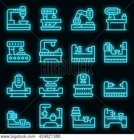 Lathe Icons Set. Outline Set Of Lathe Vector Icons Neon Color On Black