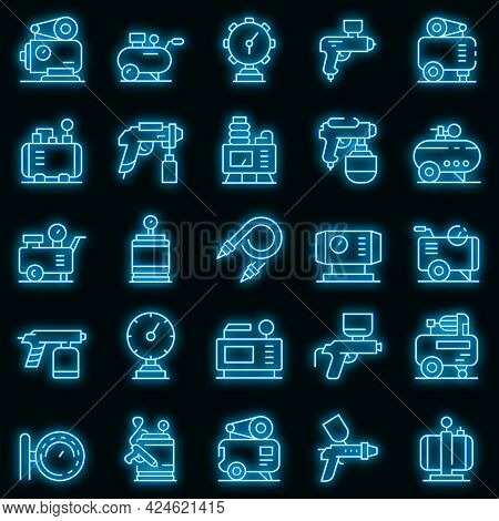 Air Compressor Icons Set. Outline Set Of Air Compressor Vector Icons Neon Color On Black