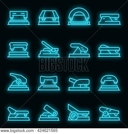 Hole Puncher Icons Set. Outline Set Of Hole Puncher Vector Icons Neon Color On Black