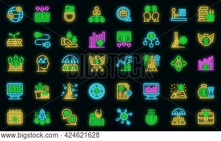 Crisis Manager Icons Set. Outline Set Of Crisis Manager Vector Icons Neon Color On Black
