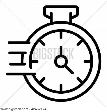 Narrow Market Stopwatch Icon. Outline Narrow Market Stopwatch Vector Icon For Web Design Isolated On