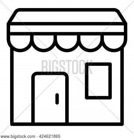 Narrow Market Street Shop Icon. Outline Narrow Market Street Shop Vector Icon For Web Design Isolate