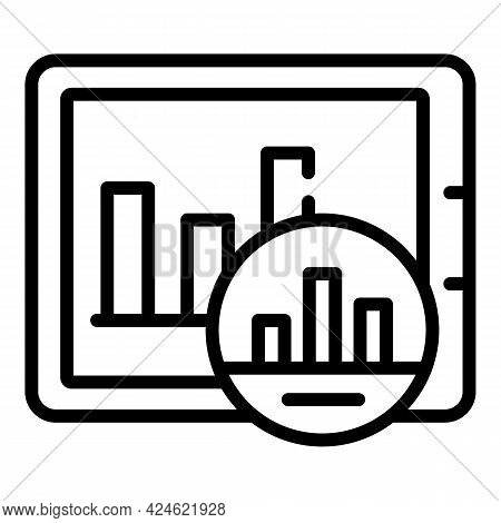 Narrow Market Tablet Graph Icon. Outline Narrow Market Tablet Graph Vector Icon For Web Design Isola