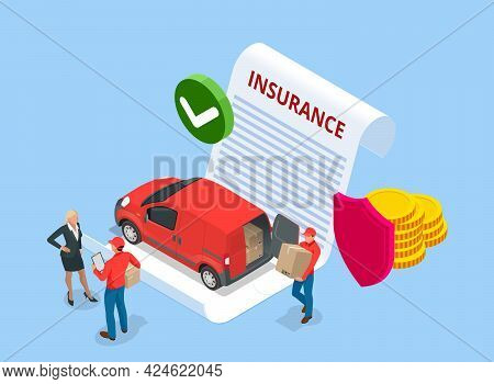 Isometric Insurance Policy Concept. Logistics And Delivery. Delivery Home And Office. City Logistics