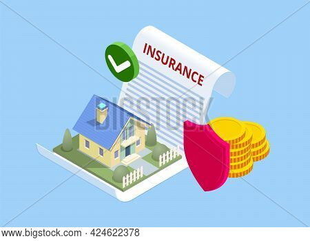 Isometric House Insurance Policy Concept. House Insurance Business Service. Property Insurance Polic