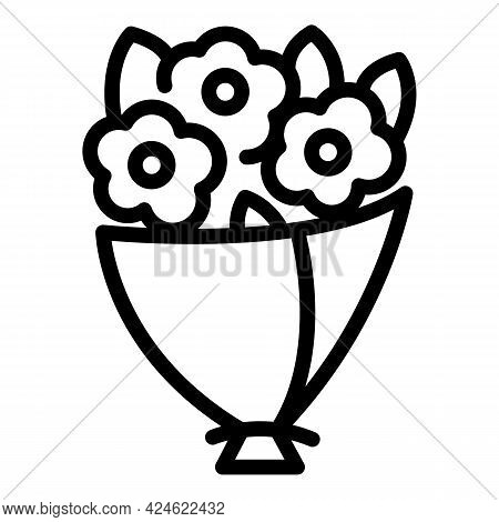 Posy Flower Bouquet Icon. Outline Posy Flower Bouquet Vector Icon For Web Design Isolated On White B