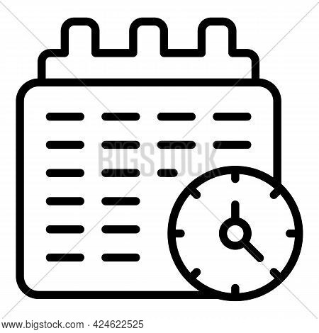Late Work Calendar Icon. Outline Late Work Calendar Vector Icon For Web Design Isolated On White Bac