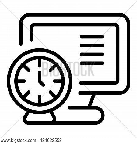 Late Work Pc Icon. Outline Late Work Pc Vector Icon For Web Design Isolated On White Background