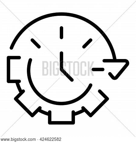 Late Work Gear Time Icon. Outline Late Work Gear Time Vector Icon For Web Design Isolated On White B