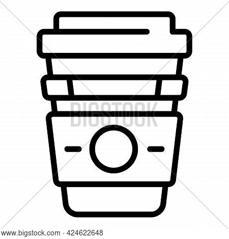 Late Work Coffee Cup Icon. Outline Late Work Coffee Cup Vector Icon For Web Design Isolated On White