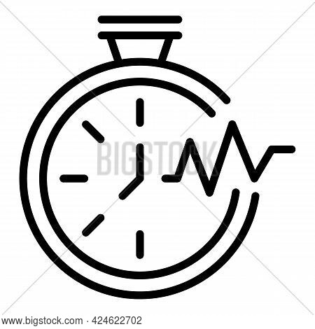 Late Work Stopwatch Icon. Outline Late Work Stopwatch Vector Icon For Web Design Isolated On White B