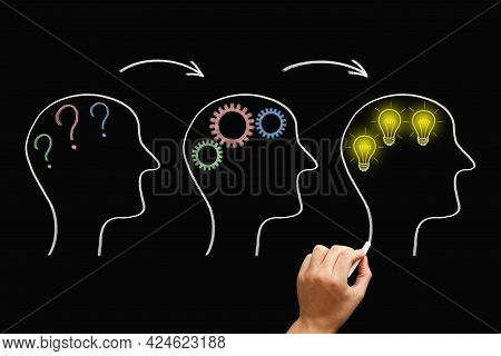 Hand Drawing Three Heads With Question Marks, Cogwheels And Glowing Lightbulbs Illustrating Great Id